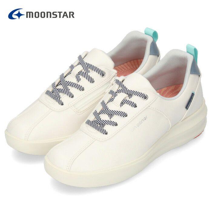 MoonStar 104 ムーンスター レインポーター 靴 レインシューズ スニーカー 防水 防滑 幅広 ゆったり 3E ワイド設計 雪 雨 ホワイト 軽量 抗菌 防臭 サイドファスナー