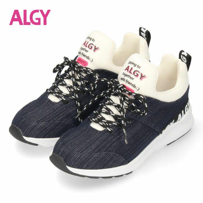 ALGY スニーカー キッズ ジュニア シューズ ネイビー 4000 子供靴 女の子 アルジー
