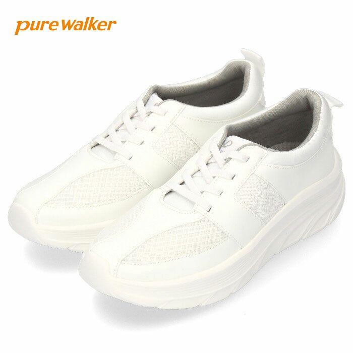 ナースシューズ 疲れにくい 軽い 白 オフィスシューズ ゴム紐 レディース ピュアウォーカー PW0601 ホワイト pure walker