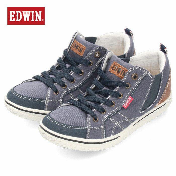EDWIN エドウィン 靴 レディース スニーカー ハイカット ミドルカット EDW-4549 ブルー カジュアルシューズ 軽量